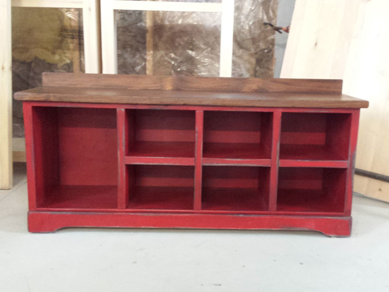 "48"" Long Shoe Bench / Wood Cubbies Bench / Shoe Storage / Mudroom Organizer / Distressed Red Hallway Bench / Entryway Shoe Rack"