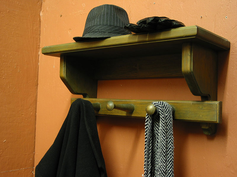 Coat Hanger with Shelf and Coat Rack.
