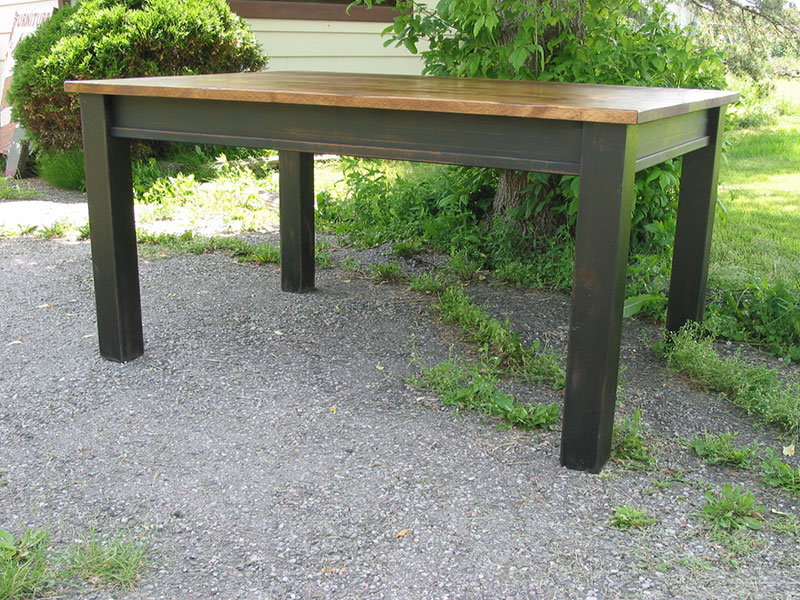 Farm House Table / Kitchen Table / Rough Sawn Pine Table / Rustic Harvest Table / Black Painted Table