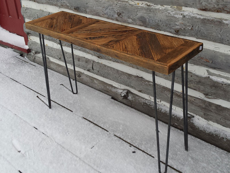 Free Shipping / SideTable / Hallway Table / Chevron Table / Reclaimed Wood / Reclaimed Oak / Console Table/ Sofa Table / Hairpin Legs Table