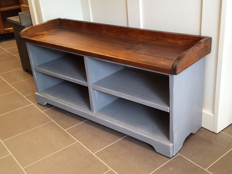 "Hallway Shoe Organizer / 40"" Long Shoe Bench / Grey Painted Mudroom Shoe Bench"