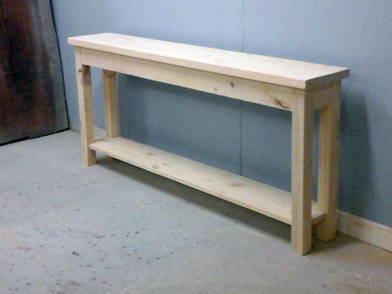 Unfinished pine sofa table for 24 wide console table