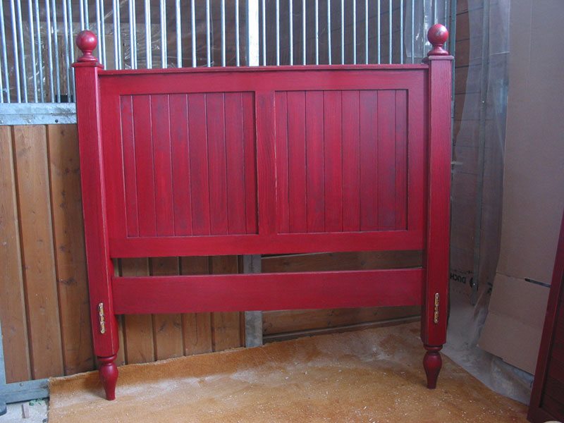 Oak Head Board / Red Bed Frame / Queen size Bed / Turning Post Bed / Solid Oak / Panel Head Board / Beadboard Panels Headboards