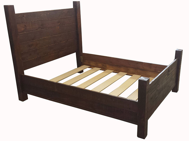 Panel Bed / Rustic Bed Frame / Four Post Panel Bed / Farm Style Bed