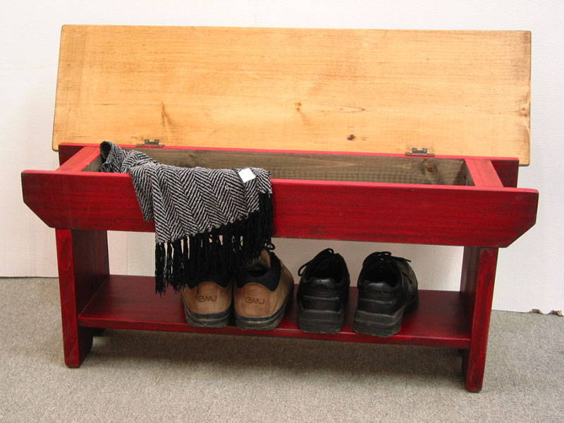 Red Cottage Bench With Storage / Rustic Entryway Bench / Country Bench
