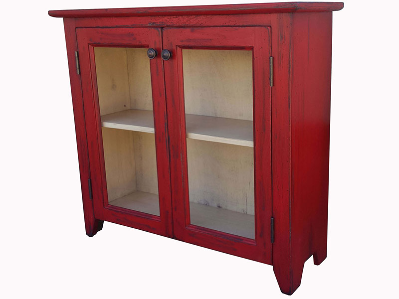 Red Credensa / Small China Cabinet / Two Doors Cupboard / Distressed Chutch
