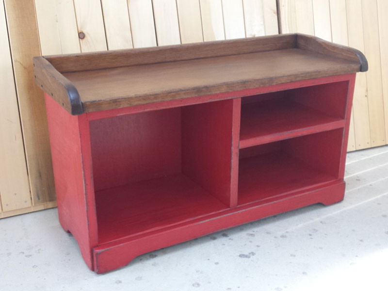 Red Shoe Bench / Entryway Wooden Bench / Rustic Pine Bench/ Country Shoe Bench / Entryway Shoe Rack / Bench