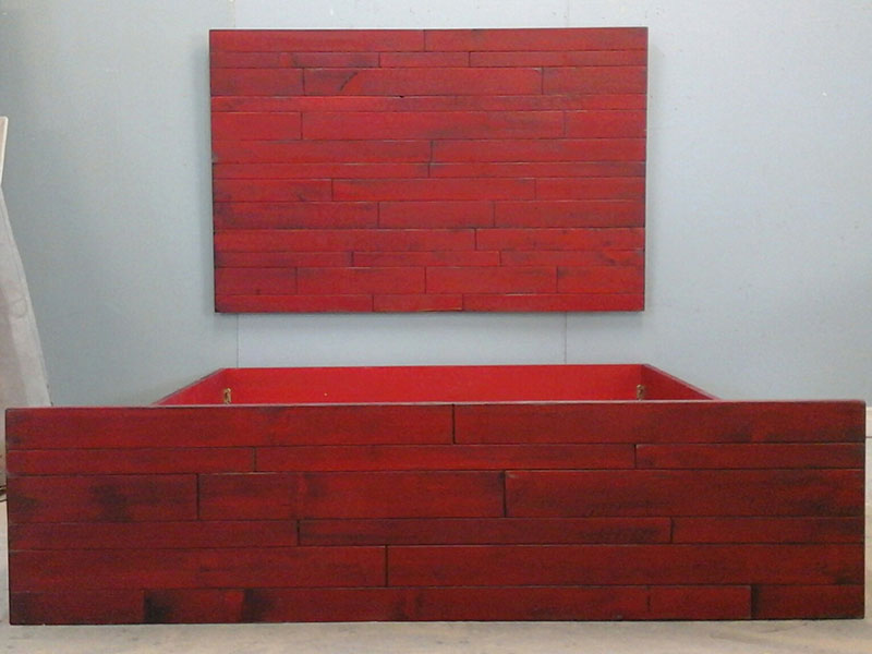 Rustic Red Bed Frame / Queen Size Rustic Bed