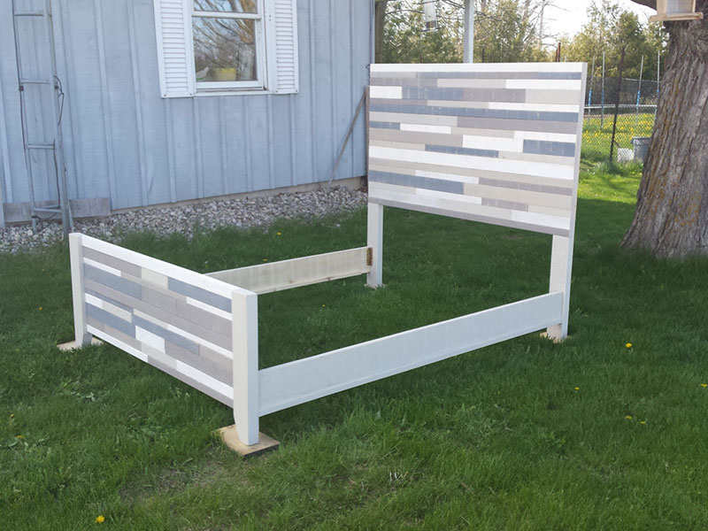 Rustic Wood Bed / Queen Size Bed / Beach House Style / Modern Headboards / Painted Chic Bed Frame