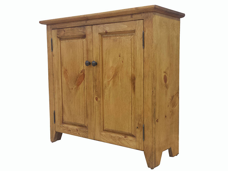 Puritan Pine Country Credenza / White Cupboard / Display Cabinet / Small Buffet / Cottage Chic Hutch / Bookshelf / Wood Bookcase