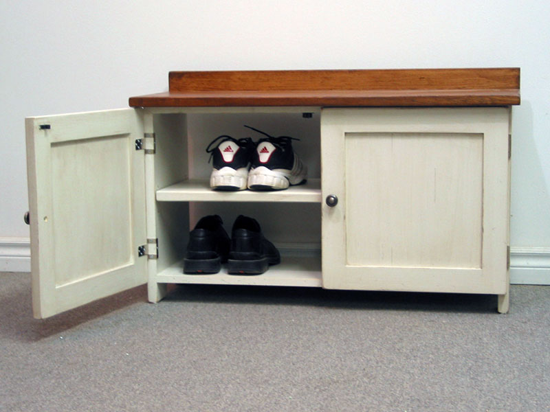 "Two Door Shoe Organizer / 36"" Shoe Bench / Entry Way Shoe Storage / Mudroom Organizer / White Shoe Bench"